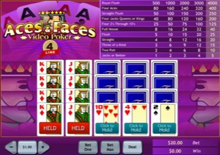 Aces And Faces Video Poker - 4 line