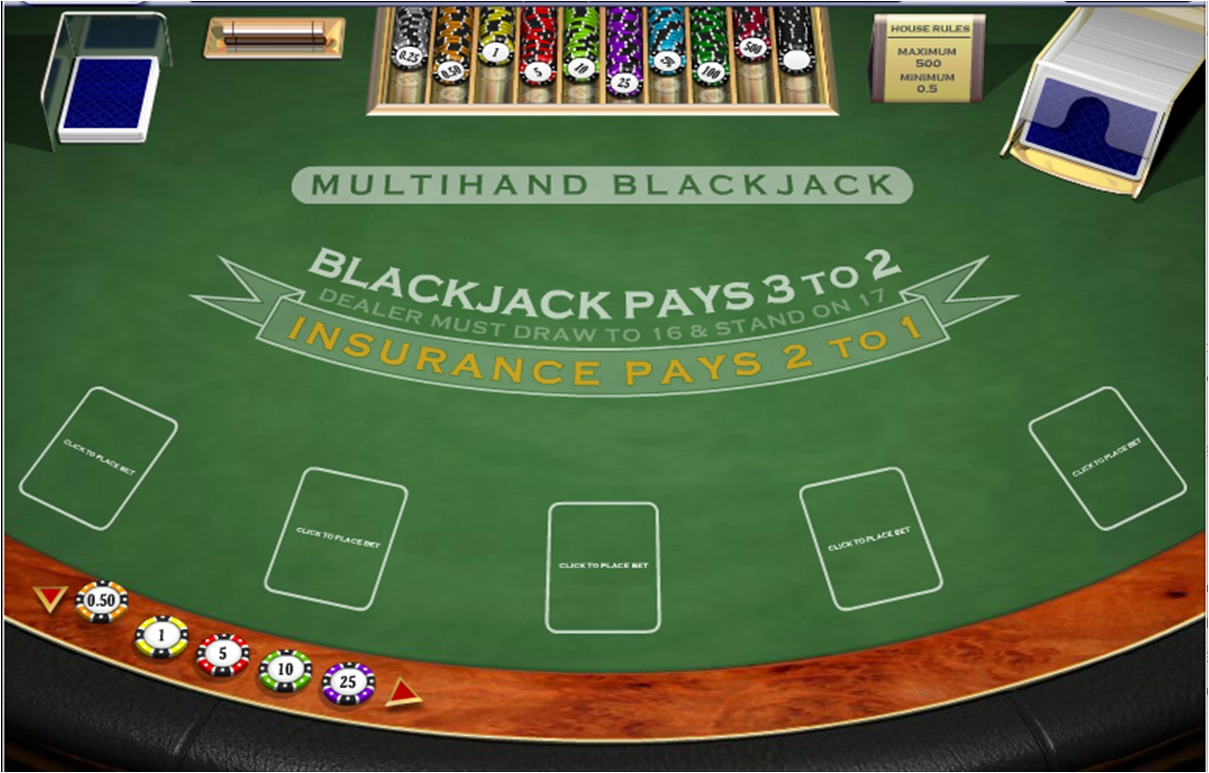 Blackjack table top view -  Multihand Blackjack Blackjack Table