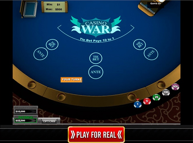 casino war game online