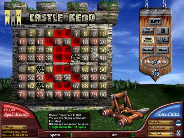 casino games keno online