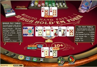 Playing Ten High Hold 'em Poker