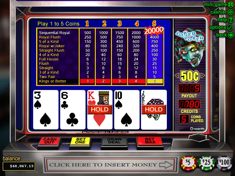 free casino games video poker