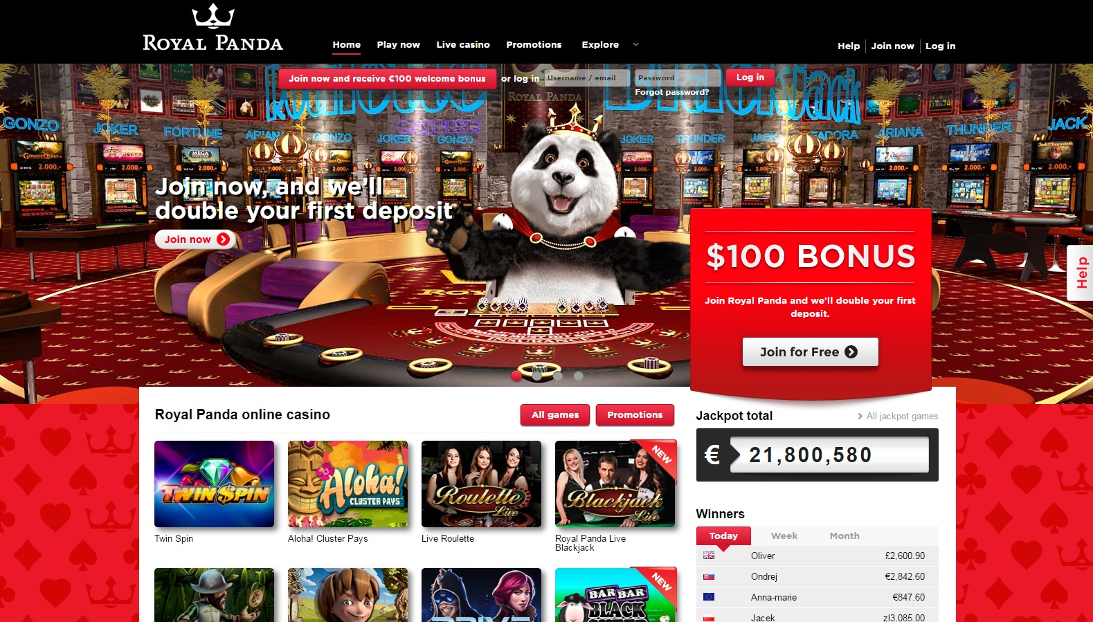 Royal Panda Casino Casino Screenshot #3
