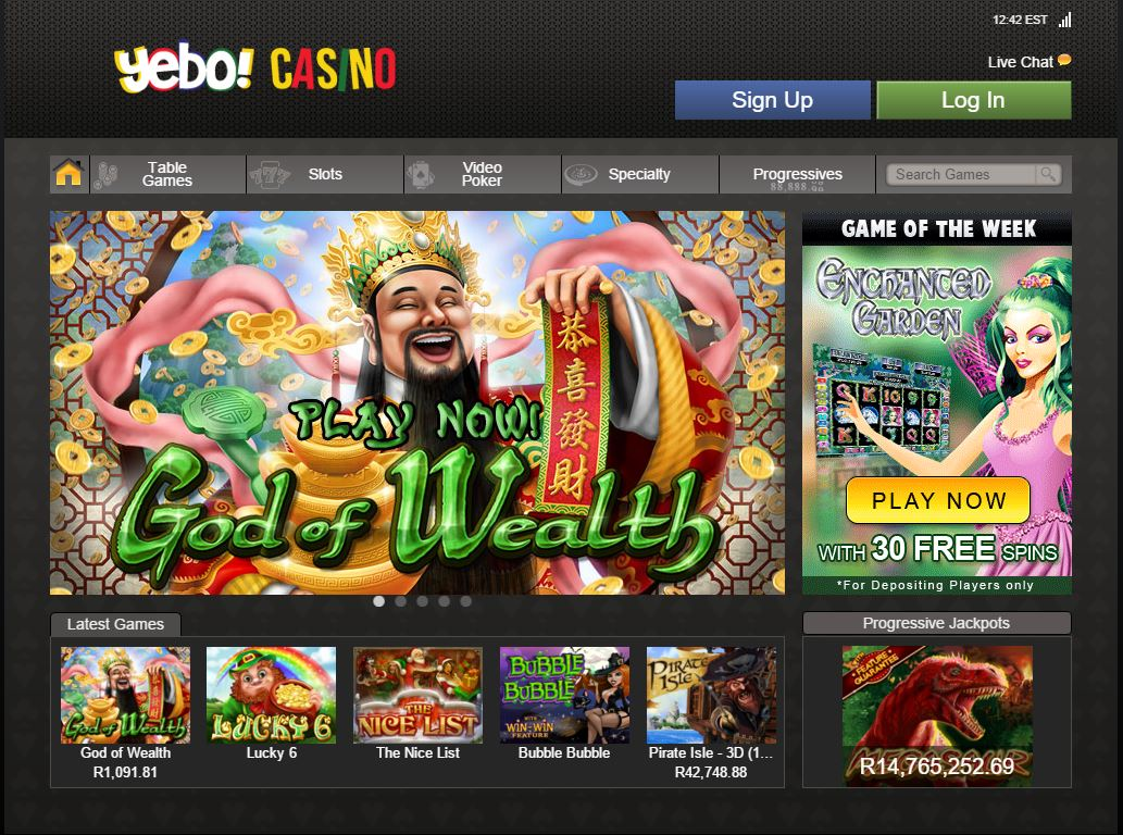 Yebo Casino Casino Screenshot #2